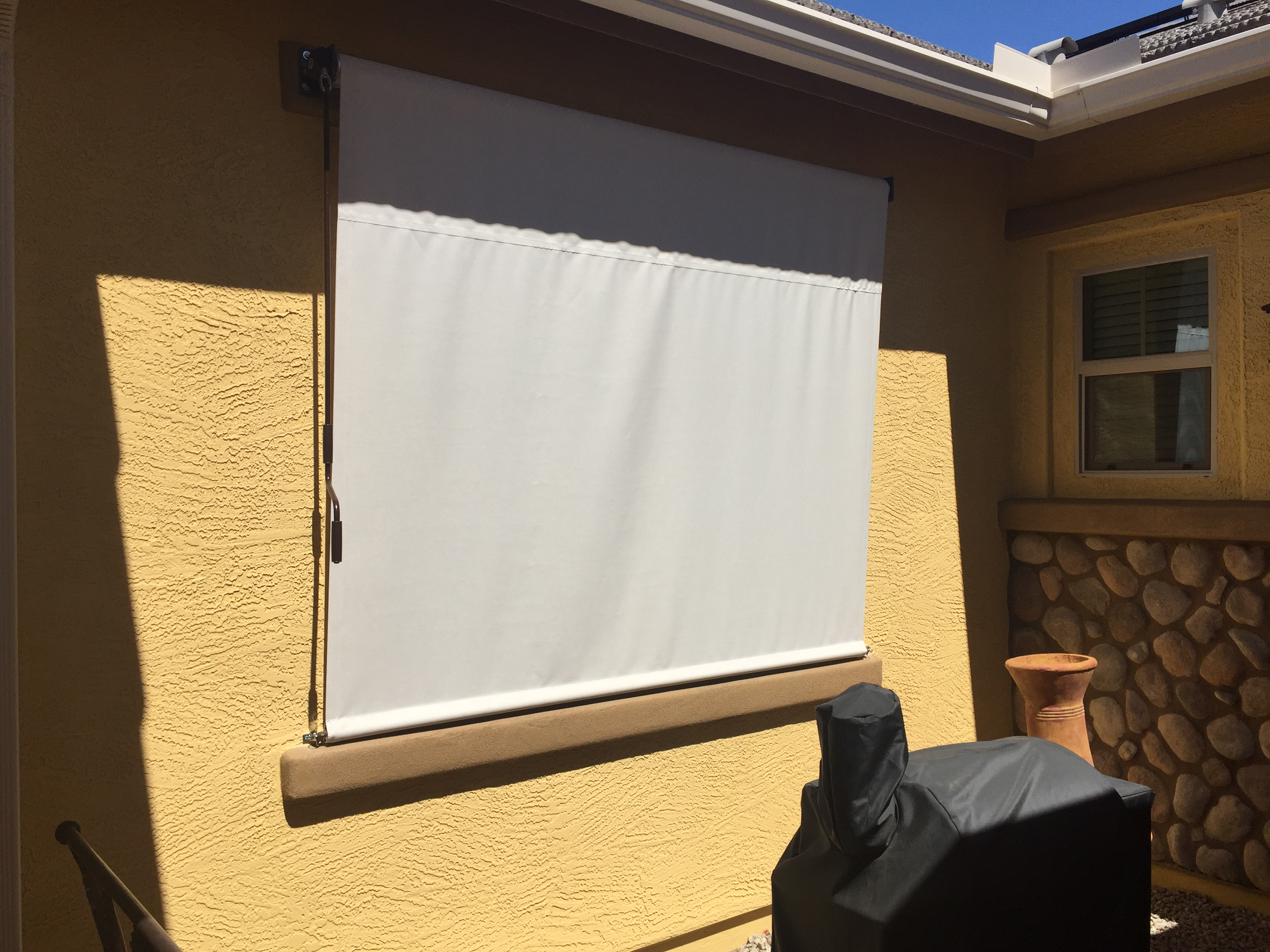 Patio Roll Down Shades Sunbrella Fabric.