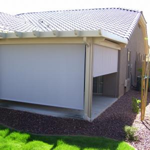 ALUMAWOOD PATIO COVER WITH ROLL DOWN SHADES CRANK SYSTEM.